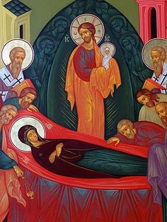 Orthodox Christians (New Calendar) commemorate the death (Dormition) of the Virgin Mary today. For those for whom such feasts are foreign, it is easy to misunderstand what the Orthodox are about – and to assume that this is simply a feast to Mary because we like that sort of thing. Flippant attitudes fail to perceive the depths of the mystery of our salvation. The Dormition of the Mother of God is one of many doorways into that mystery – all of which is Christ – who alone is our salvation.
