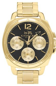 COACH 'Boyfriend' Round Bracelet Watch, 40mm at Nordstrom.com. Menswear styling inspires a boxy bezel in gleaming gold that hosts a multifunction sunray dial and is secured to a matching bracelet.