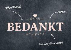 Modern bedankkaart met tekst en ornamenten op chalkboard, verkrijgbaar bij #kaartje2go voor €1,89