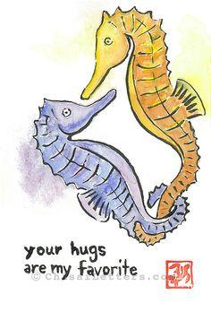 $36 Seahorse hugs original hand-painted watercolor & ink painting
