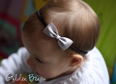 Silver Baby Headbands Bows Small Satin Silver Bow by GoldenBeam
