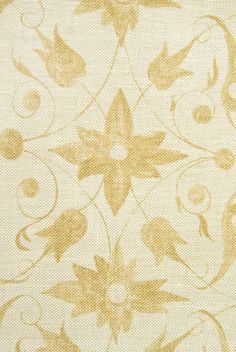 Saffron Walden Linen Fabric Neutral  loose weave Linen Fabric with floral scroll design in Gold. Suitable for Curtains and Domestic Upholstery.