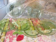 Pyrex Corning Festiva Green Swirl-Rimmed Dinner Plates- Set of 7
