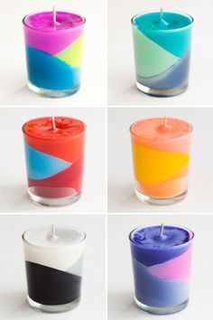 Color block candles made out of crayons. These would make a fantastic gift around the holidays.