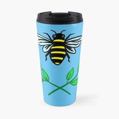 'Honey bee' Travel Mug by pixelpixelpixel Buy Honey, Save The Bees, Travel Mug, Cups, Art Prints, Printed, Tableware, Awesome, Shop
