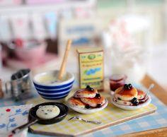 Miniature Making Blueberry Pancakes Set by CuteinMiniature on Etsy