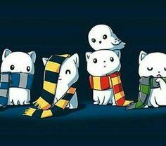 Cute!! Hogwarts Hosuses or cats