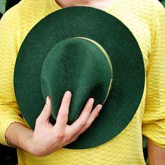 Men`s fedora hat / Green felt winter autumn hat from TUTUHandmadeHats by DaWanda.com