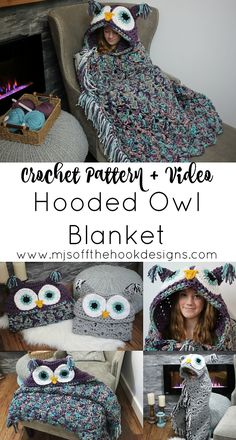Ravelry: Bulky & Quick Hooded Owl Blanket pattern by MJ& Off The Hook Designs Crochet Afghans, Crochet Owl Blanket Pattern, Owl Crochet Patterns, Owl Patterns, Crochet Blankets, Afghan Patterns, Crochet Designs, Crochet Simple, Crochet Diy