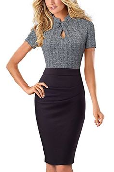 0869d2550b HOMEYEE Women's Short Sleeve Business Church Dress B430 (... https://