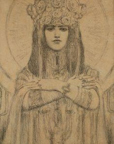 Fernand Khnopff (1858-1921) - Herodias, 1917 Drawing-Watercolor