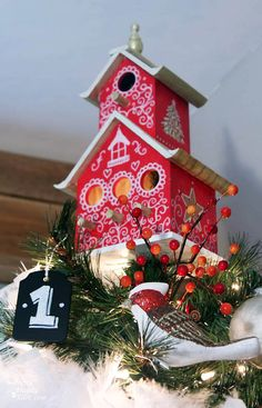 Painted Birdhouse Tree Topper Tutorial | Pretty Handy Girl; Website says it has 30 days of crafts for the holidays