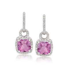 5.05 ct. t.w. Pink Topaz Earrings With .10 ct. t.w. Diamonds in Sterling Silver