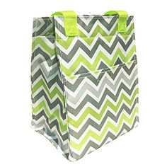 Best Gray & Neon Green Chevron Design Insulated Lunch Box & 4 Can Cooler Tote Unique Teacher Back to School Essential Supplies Gifts Ideas For Kids Teens Boys Girls by TravelNut for Women (Style 1)