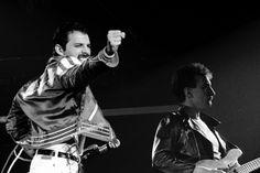 Freddie Mercury and John Deacon live at Palais des Sports, Paris, France, May 3, 1982