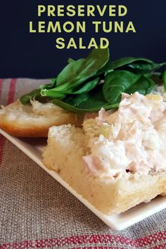 This preserved lemon tuna salad combines tuna, celery, preserved lemon and Greek yogurt for a quick, easy, and healthy lunch.
