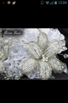 Beaded wedding flowers in ANY color you want LOVE!!!!! www.gbworldwide.com