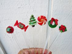 Vintage Christmas Glass Swizzle Sticks, Glass Swizzle sticks stirrers, Christmas Decor, Barware, Swivel Sticks, Set of 6