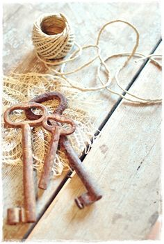 Rusty keys, twine and lace (from Lovely Home)