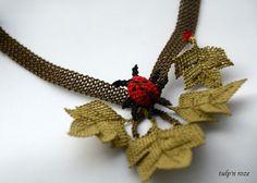 Handmade Needle Lace Ladybug Necklace. €35,00, via Etsy.