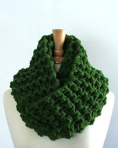 Kelly Green Extra Long Chunky Knit Infinity Cowl Scarf by LaurasLovelyKnits, $32.00