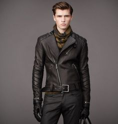 mens asymmetrical leather jackets - Google Search