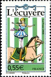 Sello: The horsewoman (Francia) (Circus) Yt:FR Postage Stamp Design, Postage Stamps, Postage Stamp Collection, Horse Posters, Rare Stamps, Monaco, Small Art, Envelopes, Stamp Collecting