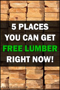 Are you into woodworking but on a budget? If so, you MUST check out these 5 places you can get FREE LUMBER for woodworking right now! Woodworking Skills, Easy Woodworking Projects, Popular Woodworking, Diy Wood Projects, Woodworking Shop, Simple Woodworking Projects, Woodworking Plans For Beginners, Woodworking Enthusiasts, Woodworking Videos