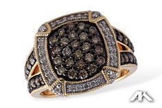 The most unique and gorgeous Allison-Kaufman Chocolate & White Diamond Ring at Glitz & Glamour in Historic Downtown Acworth! www.GlitzandGlamourInc.com