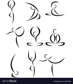 Yoga symbol vector image on VectorStock Yoga Symbols, Yoga Logo, Simple Line Drawings, Yoga At Home, Yoga Art, Abstract Images, Silhouette, Yoga Inspiration, Yoga Fitness