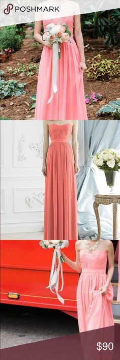 """Dessy 2943 Bridesmaid Dress - Ginger Beautiful, ginger colored un-altered bridesmaid dress that was only worn once at a wedding. Dry cleaned immediately after the wedding and has not been worn since. Optional spaghetti straps included (unused).   Bust: 32 Waist: 25 Hips: 37.5 Height: 5'8"""" Dessy Dresses Wedding"""