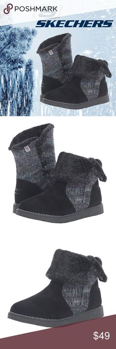 "COMFY Skechers Alpine Winter Warrior Slouch Boots Whether you wear these BOBS from Skechers Women's Alpine Winter Warrior Slouch Boots at home or outside, they will keep your feet warm and comfortable!  Material: Faux Suede textile, synthetic sole Features: Memory foam footbed, optimal support and stability, asymmetrical sweater pull on. Size: US 7M Measurements: Shaft approximately 7.75"", from arch (we wouldn't recommend these to someone with high arches unless used with insoles); Heel 1""…"