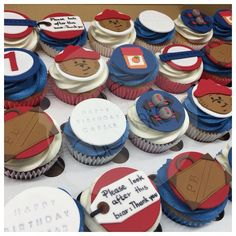 Paddington Bear Cupcakes - these are super cute. Love many bespoke cupcakes for the kids and seeing their reaction, also brings out the kid in me! Pokemon Birthday Cake, 1st Birthday Cupcakes, Bear Birthday, 2nd Birthday, Birthday Ideas, Bear Cupcakes, Cupcakes For Boys, Cute Cupcakes, Paddington Bear Party
