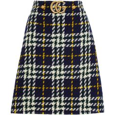 Gucci Plaid wool skirt ($820) ❤ liked on Polyvore featuring skirts, bottoms, gucci, woolen skirt, blue wool skirt, knee length a line skirt, wool plaid skirt and wool a line skirt