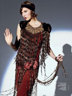 "Karie Kloss in ""The Flapper Wears Prada"" by Arthur Elgort for Vogue Australia, May 2013"
