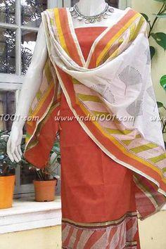 Beautiful Cotton & Chanderi Unstitched Suit fabric