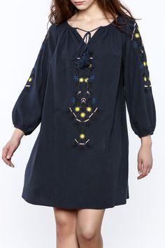 Navy tasseled boho mini dress.   Navy Boho Mini Dress by NU New York. Clothing - Dresses - Long Sleeve Clothing - Dresses - Mini Union Square, Manhattan, New York City Manhattan, New York City