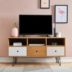 COLETTE Scandinavian TV cabinet with oak decor and print + lacquered black metal legs - W 120 cm - - Flat Interior, Home Interior Design, Interior Decorating, Buffets, Consoles, Living Room Green, Rack, Hotel Decor, Scandinavian Home
