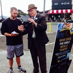"""Rick Davis Sharing """"why study the bible""""video from JW.org  with an interested one at the Plaza in arcata, ca"""