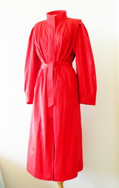 Strawberry Red Vintage Trenchcoat / Vintage Windbreaker / Long Fall Jacket / Bold Vintage Raincoat in Strawberry Red by thehappyforest on Etsy