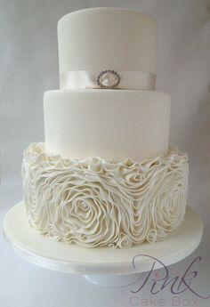 Champagne Ruffled Rose Wedding Cake - by RoseAtThePinkCakeBox @ CakesDecor.com - cake decorating website