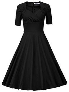 MUXXN Women's 50s Retro Solid Patchwork Pleated Swing Dress (L, Black)