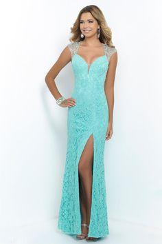 2015 Lace Sheath/Column Prom Dresses Beaded Tulle Back With Slit Floor-Length USD 189.99 BAP82JBZ9S - BallProm.com
