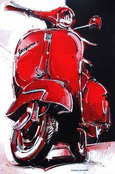 Red Vespa ~ Andrea Gnocchi