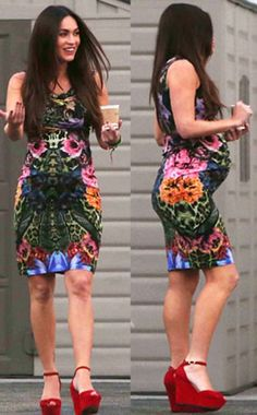Megan Fox making light work out of a summer pregnancy in a fitting print dress and wedges - so hot!
