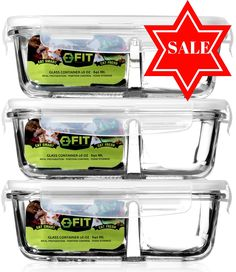 2 Compartment High Resistance Glass Meal Prep Containers (3 Containers + 3 Vented Snap Lids) by Fit Strong & Healthy | Portion Control | Food Storage | Cooking | Leakproof | 28 Oz | 3.5 Cup (3, 28 oz)