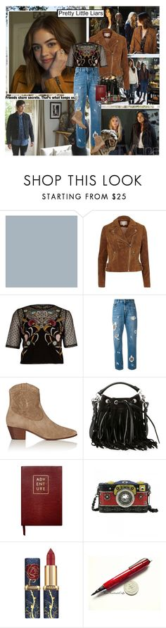 """Pretty Little Liars : )"" by thisiswhoireallyam7 ❤ liked on Polyvore featuring River Island, Versus, Yves Saint Laurent, Sloane Stationery and Eina Ahluwalia"