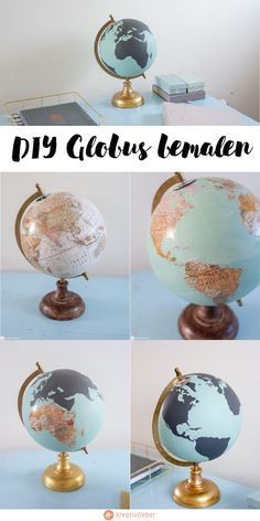 DIY Globus bemalen - Hochzeit - DIY Ideen - Hochzeitsgeschenkidee Globus bemalen You are in the right place about thrift store crafts upcycling - Upcycled Crafts, Upcycled Home Decor, Quirky Home Decor, Diy Crafts To Sell, Diy Wedding, Wedding Gifts, Diys, Painted Globe, Thrift Store Crafts