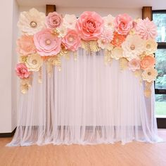 Wedding backdrop ft for rent ( Seattle). Please PM for bookings🌸 Paper flower backdrop with fairy lights. Pink, grey, white, champagne, and ivory paper flowers with gold leaves. Pleasant quinceanera decorations navigate to this site No photo descriptio Deco Baby Shower, Baby Shower Backdrop, Baby Shower Flowers, Baby Girl Shower Themes, Girl Baby Shower Decorations, Floral Baby Shower, Birthday Party Decorations, Baby Girl Babyshower Themes, Girl Baby Shower Cakes