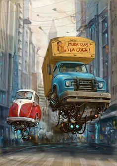 Flying Retro Cars, les véhicules rétro-futuristes d'Alejandro Burdisio